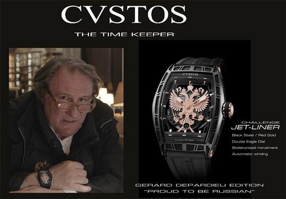 Publicité de l'horloger Suisse Cvstos avec Gérard Depardieu