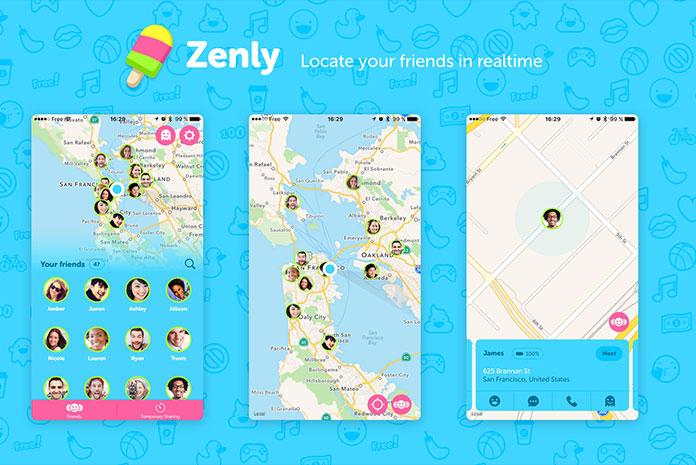 Fonctionnalités de l'application mobile Zenly